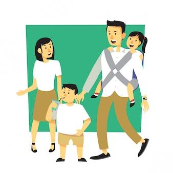 マッチングの衣装で幸せな家族漫画