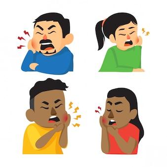 歯痛セットを持つかわいい多様な漫画のキャラクター