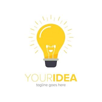 Современный забавный дизайн логотипа лампочки
