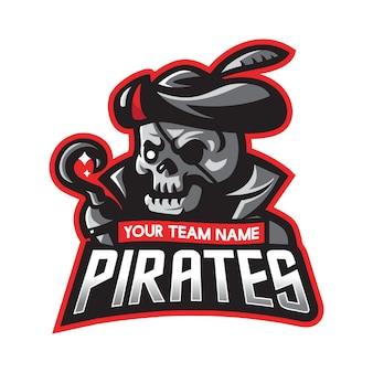 Современный спортивный пиратский череп с логотипом