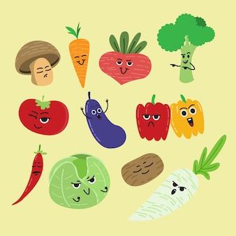 かわいい漫画の野菜セット