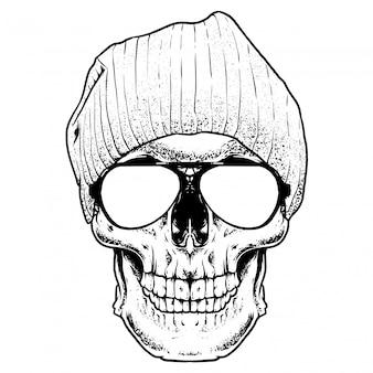 Прохладный череп гравировка иллюстрации
