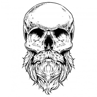 Лохматый череп гравировка иллюстрация