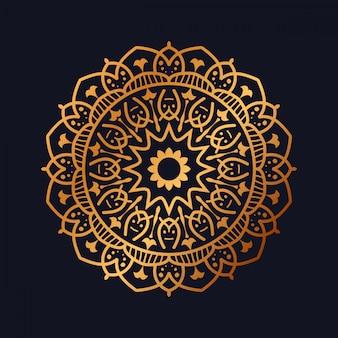 Роскошная мандала с золотистым арабеском, дизайн в арабском исламском стиле