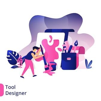 ツールデザイナー、ペイントブラシを使用してボードにペイントする男性の概念