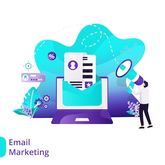 リンク先ページメールマーケティングベクトル図の概念