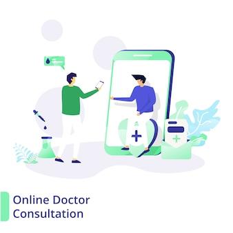 Онлайн консультация доктора, концепция медицины и здоровья