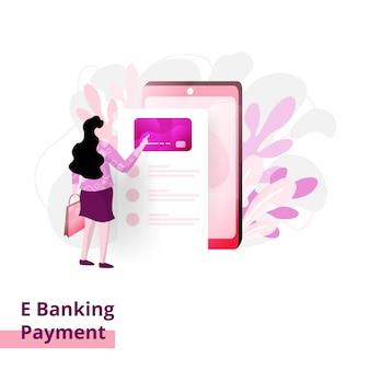 支払いページ、スマートフォンで支払う女性の概念