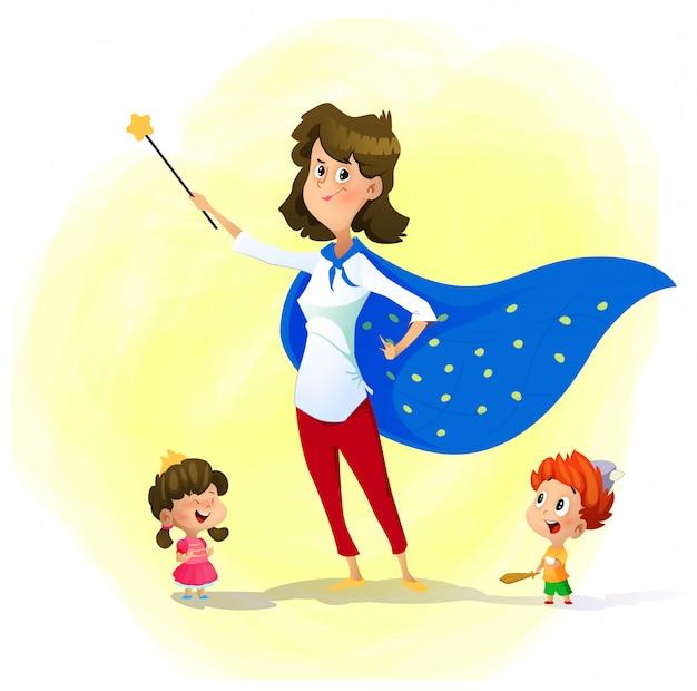 Мать и ее дети играют в волшебников. супер мама