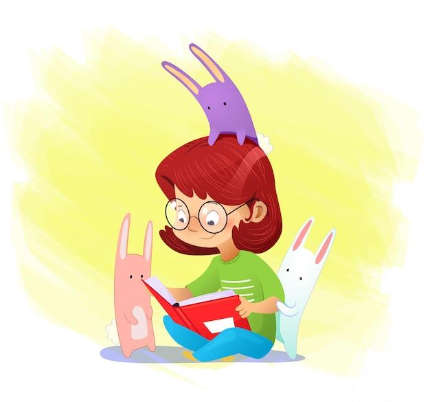 一人で本を読んでクローズアップ幸せな女の子