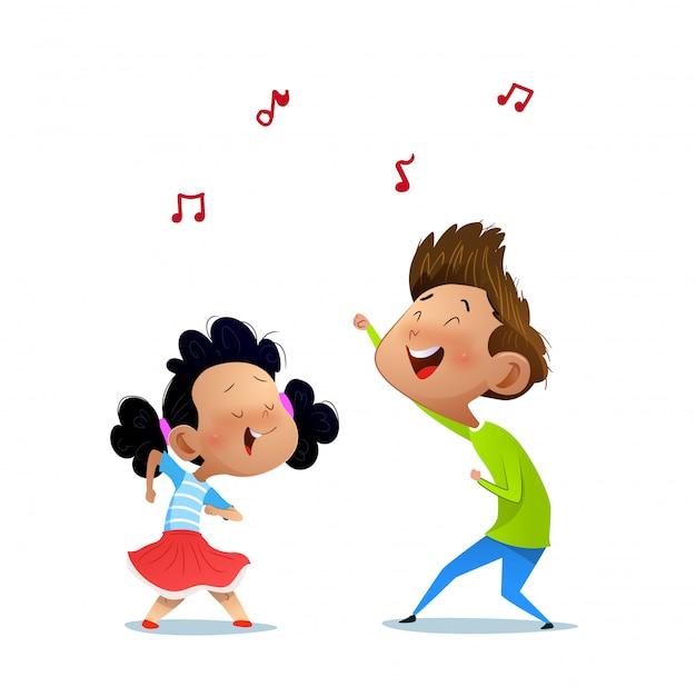 Иллюстрация двух танцующих детей.