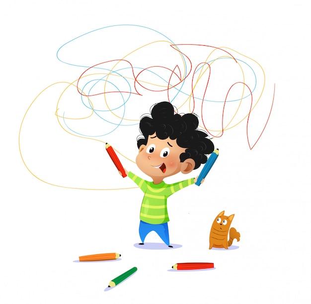 Милый мальчик рисовать рисунки на стене