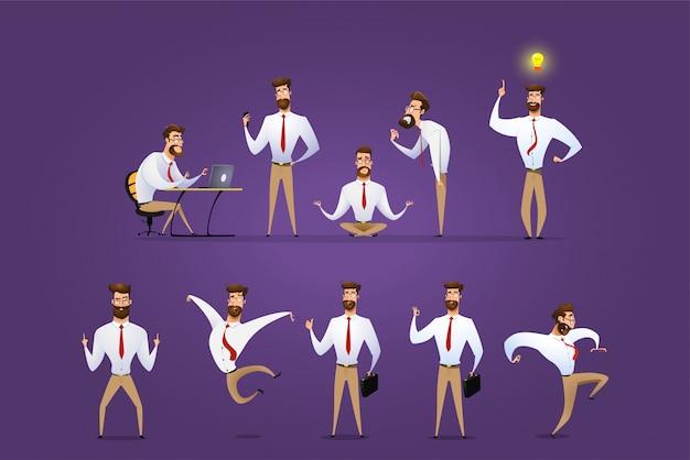 ビジネスマンのキャラクターのポーズ、ジェスチャー、アクションの大きなベクトルを設定します。