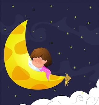 赤ちゃんは月に寝ます。ベクトルイラスト。
