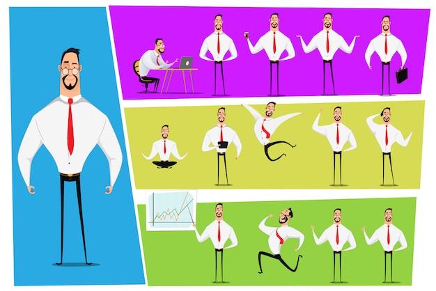 ビジネスマンのキャラクターのポーズ、ジェスチャー、アクションのセット