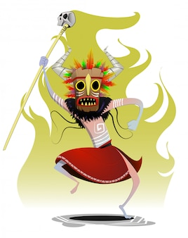 Мультяшный шаман танцует макический ритуал мага
