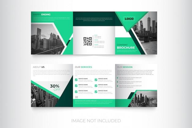 企業の新しい正方形三つ折りパンフレットのデザイン