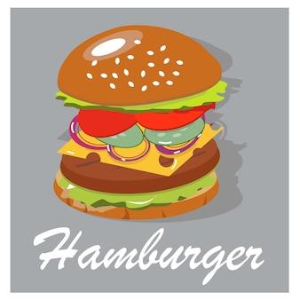 Лучший вкусный гамбургер в горячей булочке. сочные компоненты бургера.