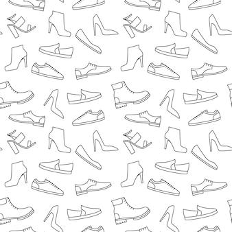 モノクロ靴パターン