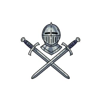 ヘルメットと交差した剣