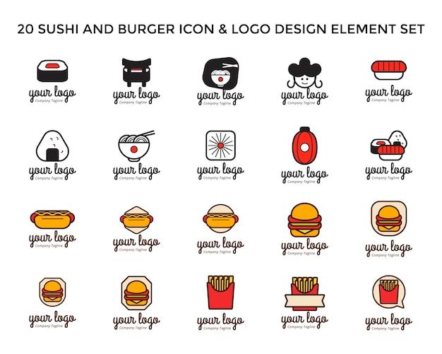 寿司とバーガーアイコンのロゴデザインセット