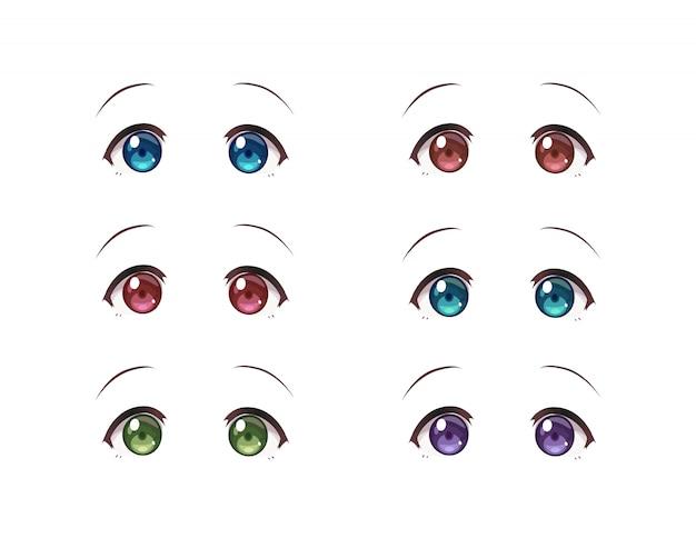 日本スタイルのアニメ(漫画)少女の本当の目。白地に色とりどりの目のセット