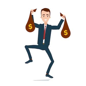 Счастливый бизнесмен в костюме с мешками денег в руках прыгает от счастья