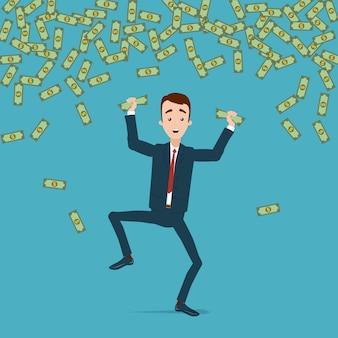ビジネスマンがジャンプし、お金の雨の中で喜びで踊る。お金は手でくしゃくしゃ
