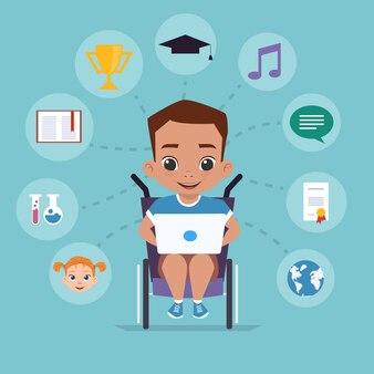 Мальчик в инвалидной коляске изучает виинтернет