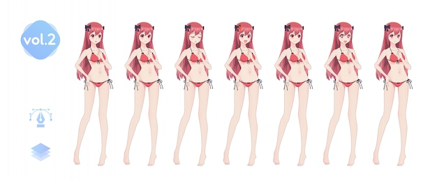 アニメ漫画の女の子。夏のビキニ水着