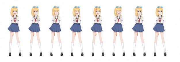 セーラー服のアニメ漫画女子高生、青いスカート