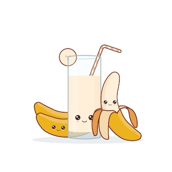 かわいいカワイ笑顔漫画バナナジュース。ベクター