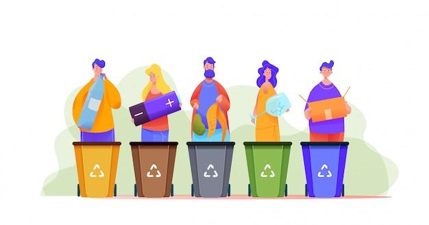人々のグループは、マルチカラーのゴミ箱にゴミを分類します。