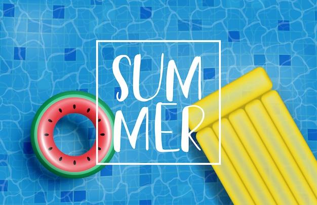 現実的な水泳リングとインフレータブルマットレスの夏のポスターまたはバナー。夏のショッピングプロモーション。