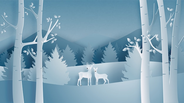 紙のカットスタイルで森の鹿カップルのある冬景色。