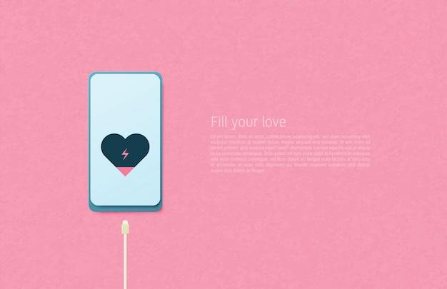 愛の紙アートコンセプトのイラスト。ピンクの背景の携帯電話で心を充電ケーブル