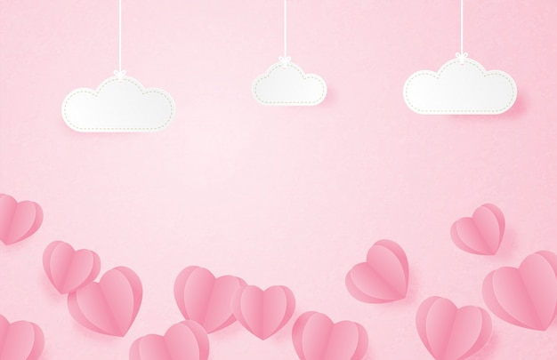 День святого валентина баннер с формы сердца, плавающие на розовом фоне и висячие облака в стиле бумаги вырезать.