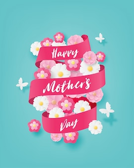 花と蝶の紙で幸せな母の日カットスタイル。デジタルクラフトペーパーアート。