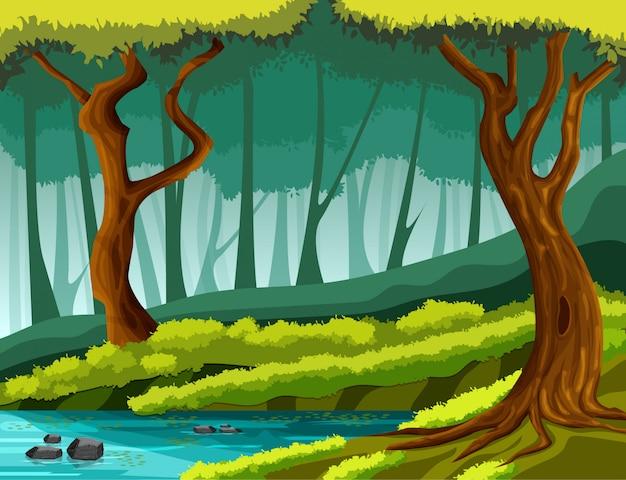 熱帯雨林と木の下の川の真ん中