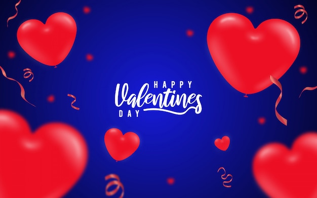 バレンタインデーの赤いハートブルーの背景