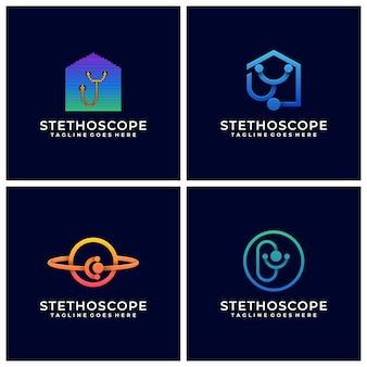医師と看護師のラインアートと医療のホームロゴデザインベクトルと聴診器