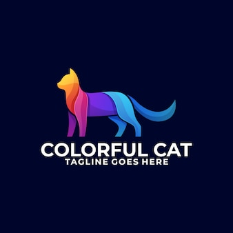Кот красочный логотип