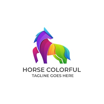 Лошадь красочный логотип