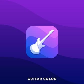 ギターアイコンイラストデザインテンプレート