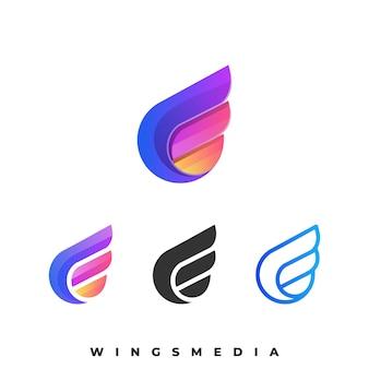 翼のカラフルなイラストのロゴのテンプレート