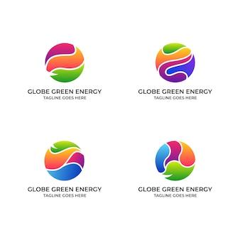 抽象的な自然グリーングローブエネルギーコンセプトデザインイラストテンプレート