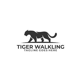 Шаблон иллюстрации концепции абстрактного тигра силуэта идя.