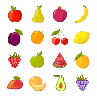 Фрукты мультяшный набор. свежие здоровые пищевые яблоки