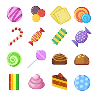 キャンディコレクションのコンセプト。色とジューシーなロリポップビスケットチョコレートとキャラメルのお菓子ベクトル漫画セット