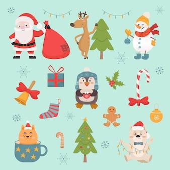 Набор новогодних символов и животных иллюстрации